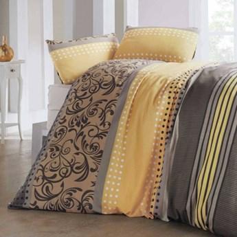 SELSEY Komplet pościeli Sandy 200x220 cm z dwiema poszewkami na poduszki 50x70 cm i prześcieradłem żółto-brązowy