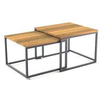 BRICK DREWNO PODWÓJNY minimalistyczny stolik kawowy styl loftowy