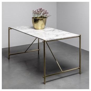FREDDIE stół z blatem marmurowym i mosiężną podstawą