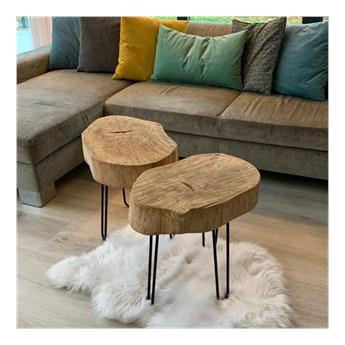 TIN stolik kawowy, plaster drewna, polski design