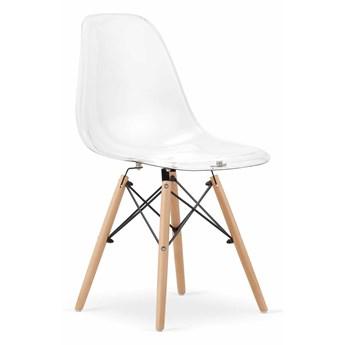 Krzesła skandynawskie przezroczyste ▪️ OSAKA ▪️ 3666 ▪️  nogi drewniane ▪️ 4 sztuki