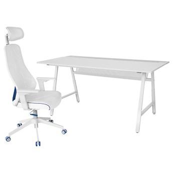 IKEA UTESPELARE / MATCHSPEL Biurko gamingowe i krzesło, Jasnoszary/biały, Maksymalna wysokość siedziska: 59 cm