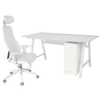 IKEA UTESPELARE / MATCHSPEL Biurko, krzesło i komoda gamingowe, Jasnoszary/biały, Maksymalna wysokość siedziska: 59 cm