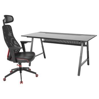 IKEA UTESPELARE / MATCHSPEL Biurko gamingowe i krzesło, Czarny, Maksymalna wysokość siedziska: 59 cm