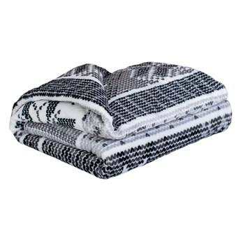 Czarno-biały koc z mikropluszu My House Płatek śniegu, 150x200 cm