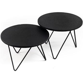 Zestaw dwóch stolików kawowych Lava One Ø54 cm czarne