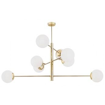 CAMERON nowoczesny żyrandol 8 x 15W LED E27 design białe szklane kule prosta złota ARGON 5043