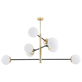 CAMERON nowoczesny żyrandol 8 x 15W LED E27 design białe szklane kule prosta złota czarna ARGON 5041