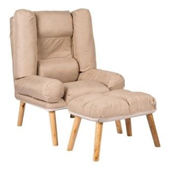 Fotel Rozkładany BARY z Podnóżkiem Beż do Spania