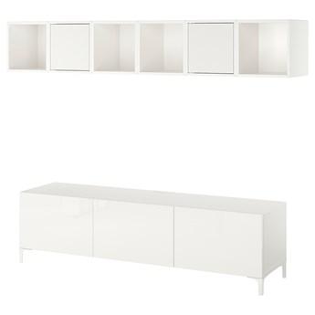 IKEA BESTÅ / EKET Szafka pod TV, biały/Selsviken/Nannarp wysoki połysk biały szkło matowe, 180x42x48 cm