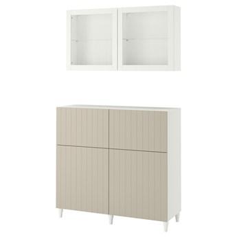 IKEA BESTÅ Kombinacja regałowa z drzw/szuf, Biały Sutterviken/Kabbarp/szarobeżowy szkło bezbarwne, 120x42x213 cm