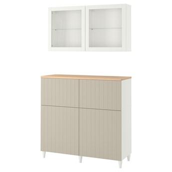 IKEA BESTÅ Kombinacja regałowa z drzw/szuf, Biały Sutterviken/Kabbarp/szarobeżowy szkło bezbarwne, 120x42x240 cm