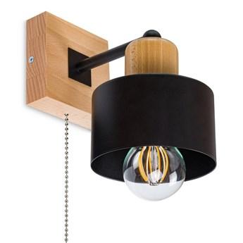 Czarny kinkiet LED SHWD-SC10x10BU jednopunktowy z litego drewna z włąc