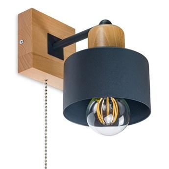 Antracytowy kinkiet LED SHWD-AN10x10BU jednopunktowy z litego drewna z