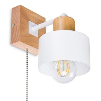 Biały kinkiet LED SHWD-WE10x10BU jednopunktowy z litego drewna z włącz