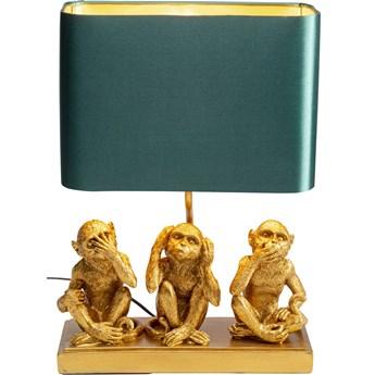 Lampa stołowa Animal Three Monkey 34x45 cm złota - abażur zielony