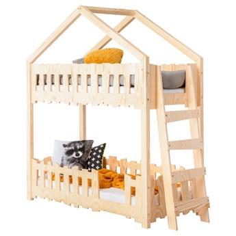 SELSEY Łóżko domek dla dzieci Gella piętrowe z boczną drabinką