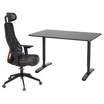 IKEA BEKANT / MATCHSPEL Biurko i krzesło, Czarny, Długość: 120 cm