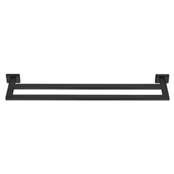 Czarny mat wieszak na ręczniki do łazienki dwuramienny ENIGMA Black Mat