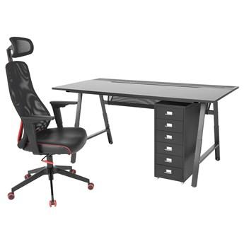 IKEA UTESPELARE / MATCHSPEL Biurko, krzesło i komoda gamingowe, Czarny, Maksymalna wysokość siedziska: 59 cm