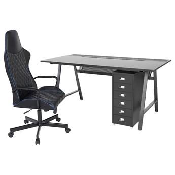 IKEA UTESPELARE / HELMER Biurko, krzesło i komoda, Czarny, Maksymalna wysokość: 78 cm