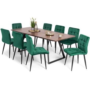 Stół PORTLAND (200/160x90) i 8 krzeseł DIANA - zestaw mebli do jadalni - brąz + zielony