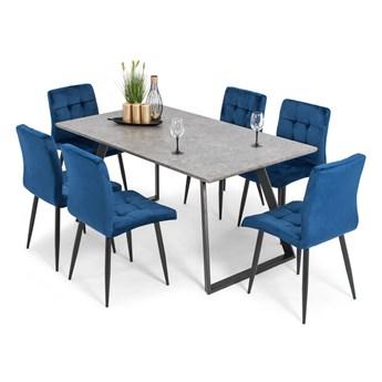 Stół PORTLAND (200/160x90) i 6 krzeseł DIANA - zestaw mebli do jadalni - szary + granatowy