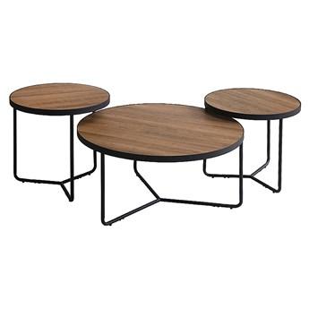 SELSEY Zestaw trzech stolików kawowych okrągłych Belna