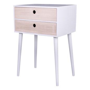 SELSEY Stolik nocny Nakario z dwiema szufladami biały