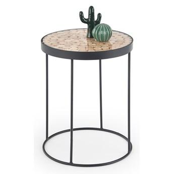 SELSEY Stolik kawowy Isleen o średnicy 47 cm okrągła podstawa modrzew