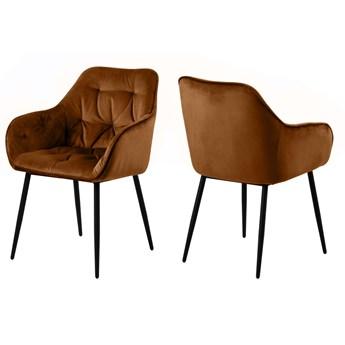 SELSEY Zestaw dwóch krzeseł tapicerowanych z podłokietnikami Agamos miedziane na metalowych czarnych nogach