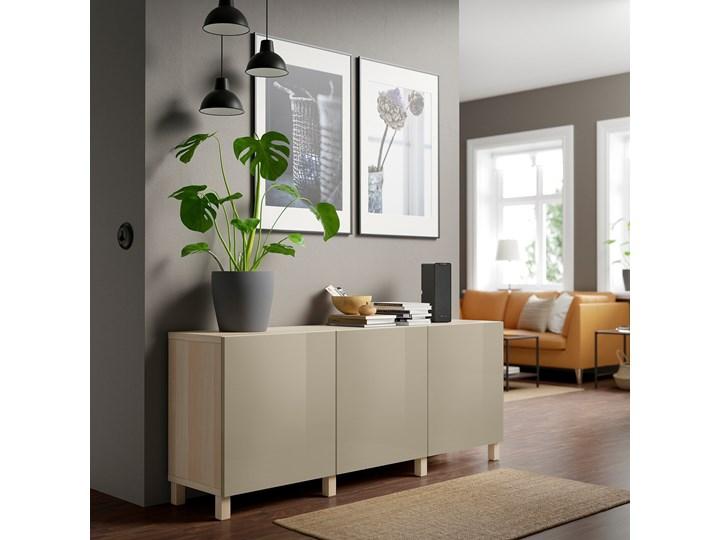 IKEA BESTÅ Kombinacja z drzwiami, Dąb bejcowany na biało/Selsviken/Stubbarp wysoki połysk beż, 180x42x74 cm Z szafkami Głębokość 42 cm Wysokość 42 cm Drewno Szerokość 180 cm Płyta MDF Pomieszczenie Sypialnia
