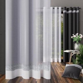 Firanka DIAMENT glamour biała gotowa na przelotkach, prosta  200x250 cm