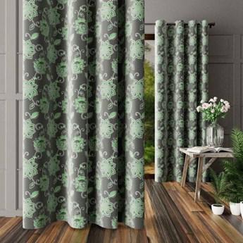 Zasłona ZIELONY KWIAT na przelotkach, w odcieniach zieleni i szarości 180x250 cm Z5700 Nie