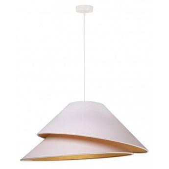 Lampa Luksusowa Coco kolorystyka biało złota tkanina fi 50 cm