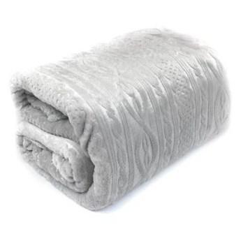 Koc BELLO wzór sweterkowy kolor jasny szary 200x220 cm