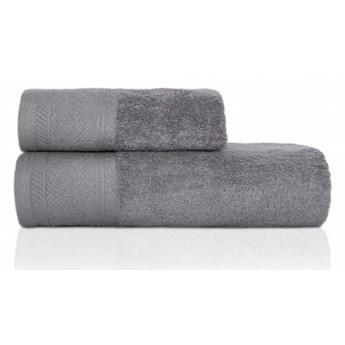 Ręcznik frotte MASSIMO szary z przędzy egipskiej, żakardowa 100% bawełna bordiura, 70x140 cm