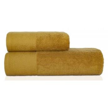 Ręcznik frotte MASSIMO musztardowy z przędzy egipskiej, żakardowa 100% bawełna bordiura, 50x90 cm
