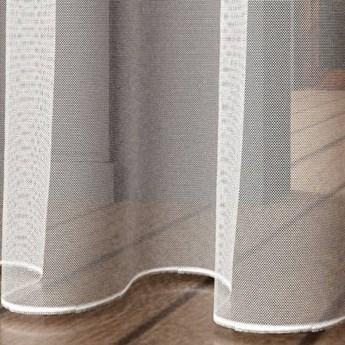 Firanka TIUL z obciążnikiem półprzezroczysta biała o naturalnym splocie na srebrnych przelotkach na wymiar TAK
