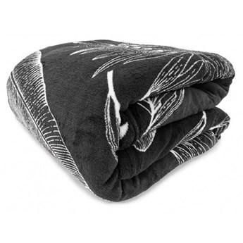 Koc NATURE czarny w jasne piękne liście 150x200 cm