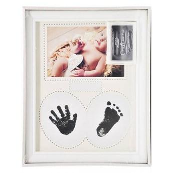 Biała ramka do zdjęć z tuszem na odcisk rączki,stópki maluszka
