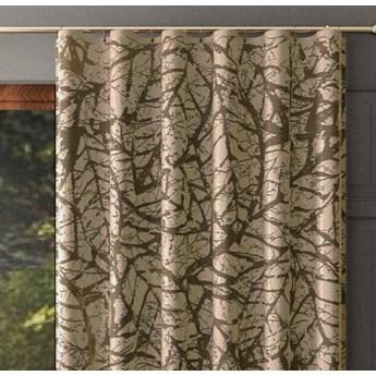 Zasłona żakardowa LIŚĆ na taśmie FALA kolor brązowy 140x250 cm