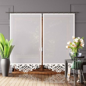 Panel AŻUR 1 woal biały z pięknym białym wykończeniem 100x250 cm