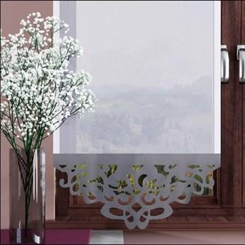 Panel AŻUR 1 woal biały z pięknym jasno szarym wykończeniem 60x180 cm