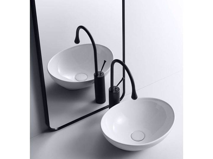 VELDMAN  UMYWALKA CERAMICZNA NABLATOWA VERA Nablatowe Meblowe Szerokość 45 cm Szerokość 41 cm Ceramika Owalne Kategoria Umywalki