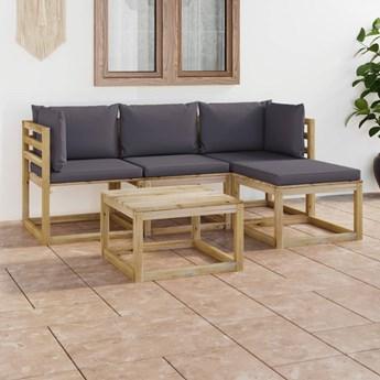 vidaXL 5-cz. zestaw wypoczynkowy do ogrodu, z antracytowymi poduszkami