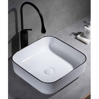 Umywalka Ceramiczna Nablatowa Biała Z Czarnym Rantem