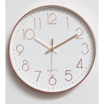 Zegar ścienny Klasyczny Okrągły Biały Różowe Złoto