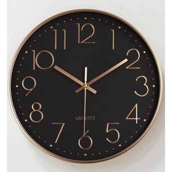 Zegar ścienny Klasyczny Okrągły Czarny, Różowo-złote Wskazówki