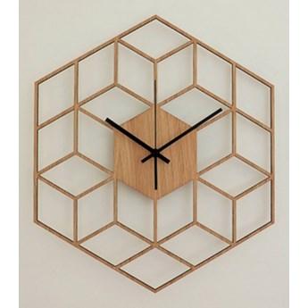 Zegar ścienny Drewniany Geometryczny Brązowy